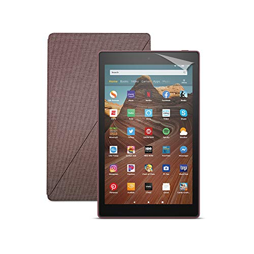 Fire HD 10 Tablet (32 GB, Plum, With Special Offers) + Amazon Standing Case (Plum) + Nupro Screen Protector (2-pack)