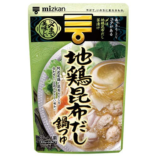 ミツカン 〆まで美味しい 地鶏昆布だし鍋つゆ ストレート 750g×12袋入×(2ケース)