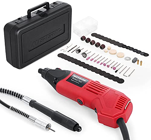 Rotary Tool Kit, Meterk 160W Rotary Tool with Flex shaft, 83pcs Accessories, 6-Speed(8000-35000rpm), Perfect for DIY Creations, Craft Projects, Drilling, Cutting, Sanding, Polishing and Engraving