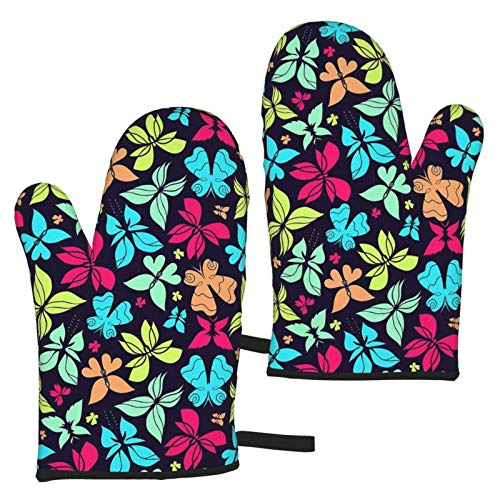 zsxaaasdf 2pc Microwave Gloves, Premium Soft Flexible Oven Gloves, Colorful Butterfly Heat Resistant Kitchen Gloves, Pot Holders for Kitchen Cooking Baking Grilling Microwave
