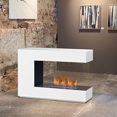 muenkel design loft.line - C-02 [Design Raumteiler Ethanol Kamin]: weiß (warm) - PrimeFire Pro