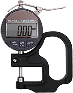 0-10MM Stainless Steel Micrometer Digital Thickness Gauge Accuracy 0.01/0.001MM External Micrometer Dialgauge for Paper Rubber Fabric Metal Glass Sheet Leather (A)