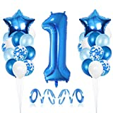 1 Compleanno Decorazioni, Palloncino Numero 1, Primo Decorazione Festa di Compleanno per Bambini Kit Blu, 1 Anno Anniversario Decorazioni Festa Compleanno Ragazzo