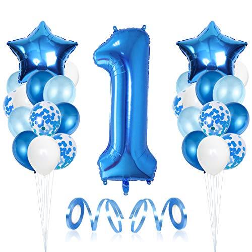 1er Cumpleaños Bebe Globos Decoracion, Cumpleaños 1 Año Bebe Niño, Globos Numeros 1 Decoracion, Globos de Confeti de Latex Boy Ballon Party Cumpleaños 1 Año