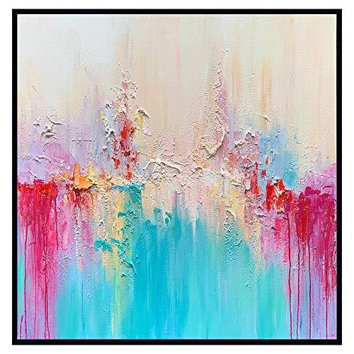 Schilderij met olieverfschilderij, op canvas, abstract roze blauw violet graffiti, moderne kunst pop dia, maat A mano muurkunst picture voor het leven huis sala restaurant 70×70 cm/28×28 inch