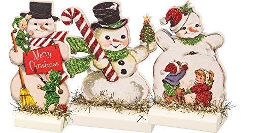 Primitives by Kathy Vintage Christmas Stand Up Set, Set of 3, Retro Snowmen, 3 Piece