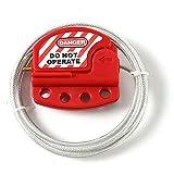POFET Bloccaggio cavo Tagout rosso Lockout regolabile in acciaio Vinile rivestito cavo di blocco per applicazioni di blocco tagout. Funziona con serrature di sicurezza Loto