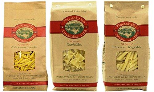Montebello Organic Imported Italian Pasta 3 Shape Variety Bundle: (1) Strozzapreti, (1) Farfalle, and (1) Penne Rigate, 16 Oz. Ea.
