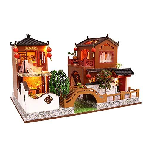Poupée DIY Maison Assemblée Miniature Maison De Poupée Ensemble Créatif Décorations Cadeau D'anniversaire Maison De Poupée Jouet Style Chinois Maison De Poupée Jouet Chinois Traditionnel À La Main