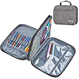 HOMEST Crochet Hook Case, Circular Knitting Needle Storage Bag, Portable Tote for Knitting Accessories, Easy to Carry, Grey (Bag Only)