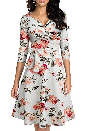 HOMEYEE Damen Retro 50s V-Ausschnitt mit Schärpe Swing Cocktail Party Kleid A240 (M, Weiß + Blumen)