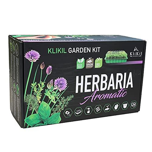 KliKil Kit de huerto urbano Herbaria Aromatic - Jardinera profesional con 6 variedades de semillas de hierbas aromáticas: crea tu propio jardín urbano. Regalo original para...