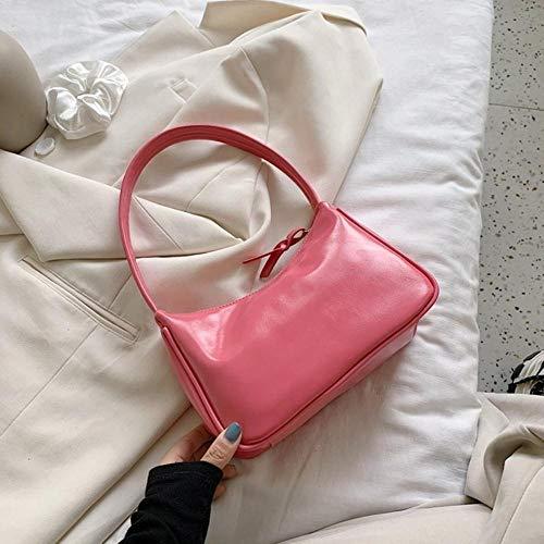 LOH Couleur Unie Sacs à bandoulière Femmes Sacs à Main d' été Femme Sacs fourre-Tout, Rose, 23cmx16cmx9cm