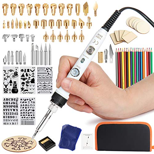 99Pcs Wood Burning Kit, Professional Wood Burning Tool with Soldering Iron, Pyrography Pen Kit with Switch and Adjustable Thermostatic Digital-Controller 302-842℉