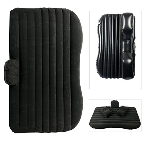 YaeTact Car Travel Inflatable Mattress Inflatable Bed Camping Universalwith Two Air Pillows with Pump (Black)