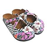GOBY Black & Pink Floral Stripe Clogs WCAL153