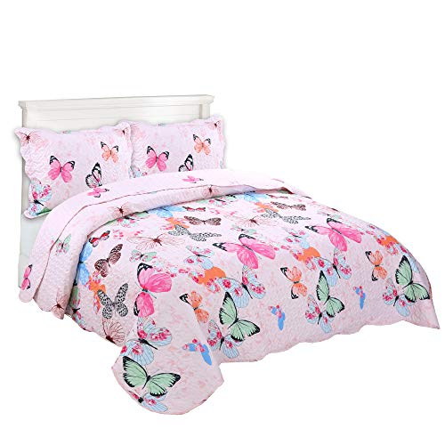 MarCielo 3 Piece Kids Bedspread Quilts Set Throw Blanket for Teens Boys Girls Bed Printed Bedding Coverlet Butterfly A72 (Full-Queen)