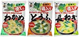 Miyasaka Japanese Miso Soup 3 Pack bundle: Tofu, Green Onion, Wakame