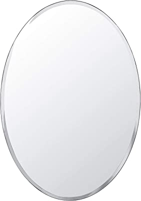 "Villacola 20"" x 28"" Frameless Oval Mirror, Decorative Beveled Edge Bathroom Mirror for Wall in Entryway, Washroom, Living Room and More"
