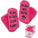 Top-Geschenk24.de Kuschelsocken (Fusselfrei) Kaffee Geschenk für Frauen, WENN DU DAS LESEN KANNST BRING MIR KAFFEE SOCKEN, Geburtstagsgeschenk für Fre&in, Schwester-Geschenk, 36-42/43, Rosa-kaffee