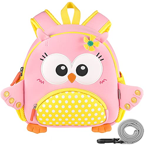 GAGAKU® Mochila infantil para niñas de 2 a 6 años con dibujos animados en 3D, de neopreno, para guardería, con correa para el pecho y correa antipérdida, diseño de unicornio rosa con búhos búhos S
