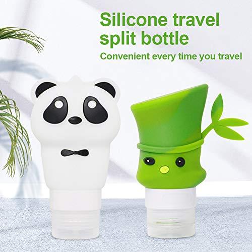 Allsunny Lot de 2 bouteilles vides de grande capacité de 60 ml en bambou 90 ml Panda pour shampooing, gel lotion, flacon de stockage – 60 ml bambou + 90 ml Panda