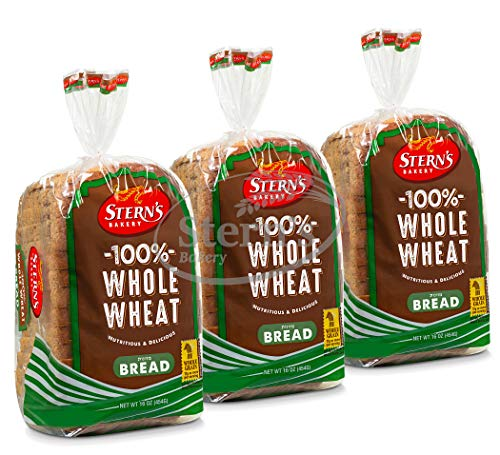 100% Whole Wheat Bread Sliced - 3 Pack - 16 oz per Loaf | Delicious Sandwich Bread | Kosher Bread | Dairy & Nut Free | 2-3 Day Shipping | Stern's Bakery