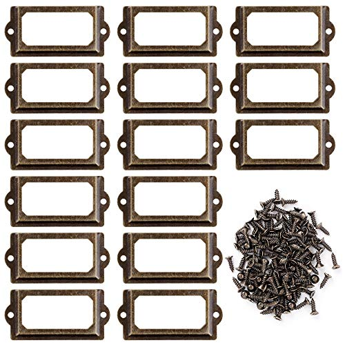 Metall Etikettenhalter, 30 Stück Vintage Etiketten Kartenrahmenhalter mit Schrauben für Büro Bibliothek Bücherregal Regale Schubladenschrank, 70 x 33mm (Bronze)