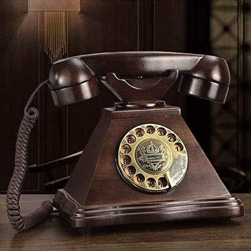 ZJUAN Retro Teléfono De Marcación Rotatoria,Madera Maciza Línea Terrestre con Cable,Teléfono Retro,Teléfono Fijo,Línea Terrestre con Cable,Salón Decoración Marcación Giratoria