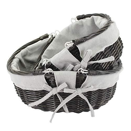 HDKJ Oval Wicker Picnic Basket Storage with Movable Handle for Food or Vegetable Dark Grey Set of 2