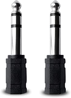 Audio Adapter 6.35mm(1/4 inch) Male to 3.5mm(1/8 inch) Female Headphone Stereo Audio Connector (2 Pack)