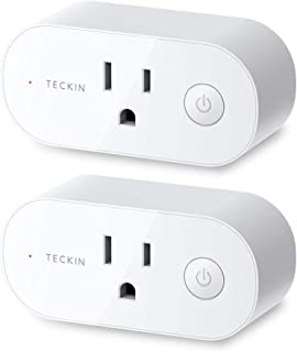 Smart Plug Wifi Outlet 15A Compatible With Alexa,Google Home and IFTTT, Teckin Mini Smart Socket with Schedule and Timer Function, No Hub Required,2 Pack