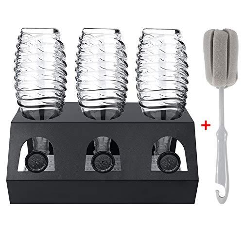 GUSUWU Soportes para Botella SodaStream está hecha de acero inoxidable, para botellas de vidrio y botellas Emil, con una bandeja de goteo extraíble + Cepillo para botellas