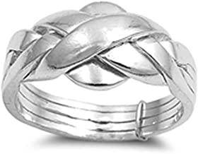 Sterling Silver Women's Puzzle Braid New Ring Polished 925 Band 11mm Sizes 5-15