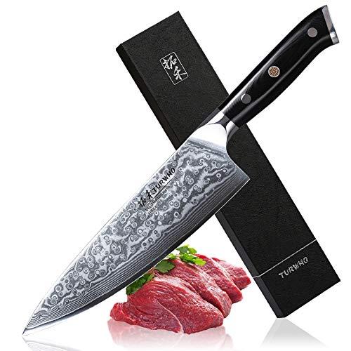 TURWHO Küchenmesser Damastmesser 20cm Profi Chefmesser Sehr Scharfe Klinge 67 Schichten Damaskus Stahl chinesisches Kochmesser zum Schneiden