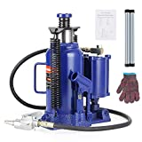 Anbull 20 Ton Air Hydraulic Bottle Jack, Blue Pneumatic Hydraulic Bottle Jack with Manual Hand Pump for Heavy Duty Auto Truck Repair
