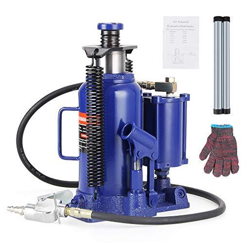 Anbull 20 Ton Air Hydraulic Bottle Jack, Blue Pneumatic Hydraulic Bottle Jack with Manual Hand Pump for Heavy Duty Auto Truck Repair