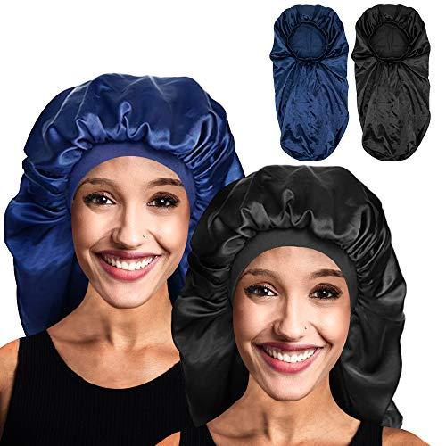 LIIBOT 2 Pack Extra Long Satin Sleep Bonnet for Women, Soft Elastic Band Silky Cap for Long Hair, Braids, Dreadlocks, Curly Hair and Hair Loss (Black & Navy Blue)