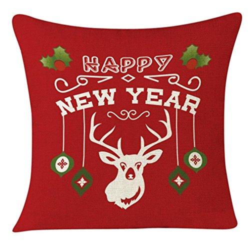 45x 45cm + federe, Kingko Serie di Natale di stampa piazza federa casa cuscino decorativo per divano, letto, auto, giardino (a)