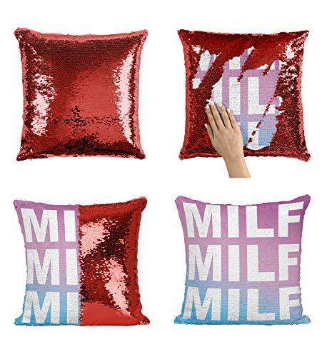 Milf Fuck Sexy_P193 Sequin Pillow, Funny Pillow, Sequin Reversible Pillow, Throw Pillow Cover, Décor, Gift For Him Her, Birthday Christmas Halloween, Present (Funda de Almohada)