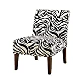Major-Q Contemporary Style Linen Slipper Accent Chair for Living Room/Bedroom, Tight Back and Seat Cushion, Paris Stamp Pattern with Espresso Finish Wooden Tapered Leg 30' x 23' x 33'H,