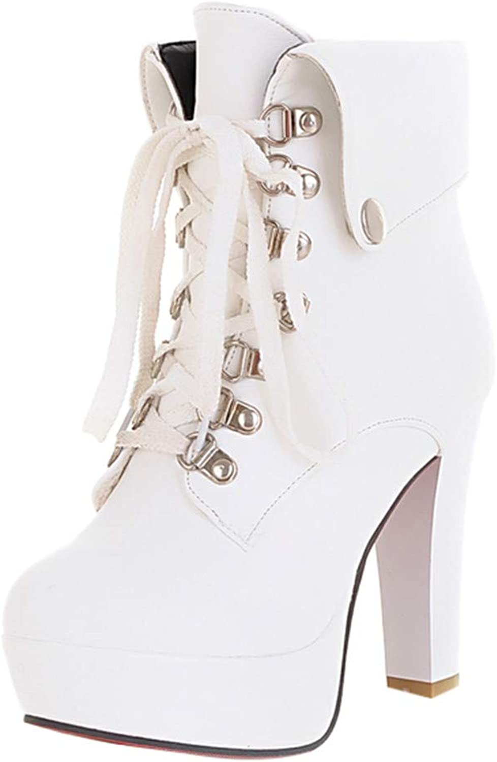 RedBrowm Fashion Female Sexy Platform High Heel Ankle shoes Lace Up Round Toe Short Boots White