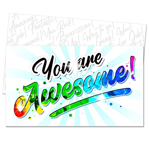 You Are Awesome - Appreciation Mini Note Cards by Tiny Love Cards - 85 Pack of Inspirational, Motivational, Encouragement Kindness Notes to Show Gratitude in Style - Business Card Size