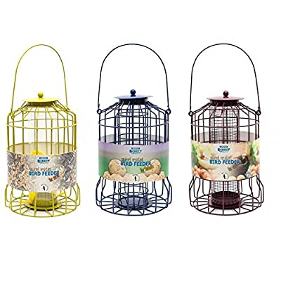 Simply Direct Set of 3 x Squirrel Resistant Guard Nut, Seed & Fat Ball Bird Feeders by simply direct