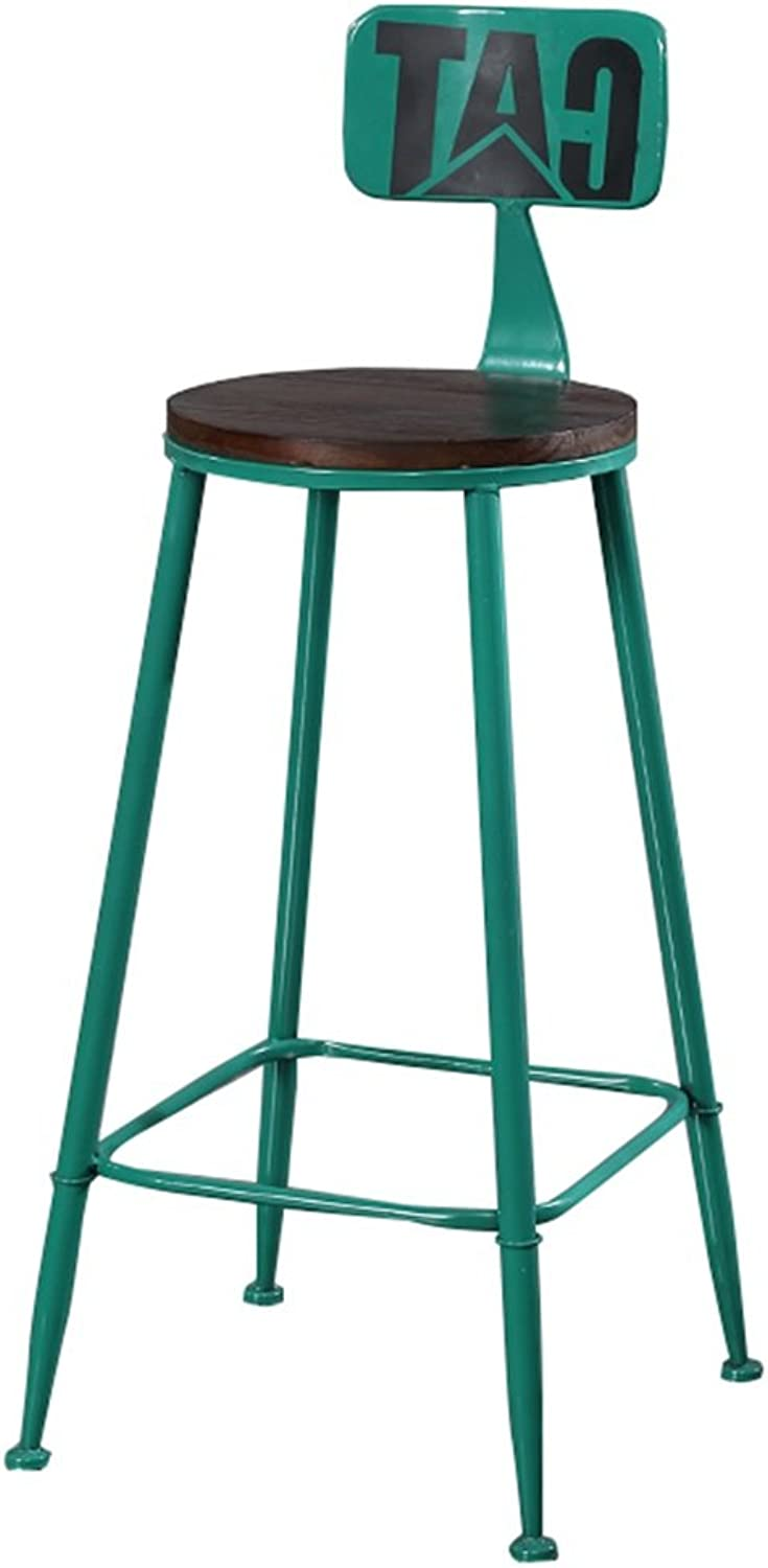 High Stool Bar Kitchens Dining Chair Breakfast Stool   Tall Chairs Bar Stool Counter Chair Leisure Seat Vintage Retro Barstool Design (color   Green, Size   85cm)