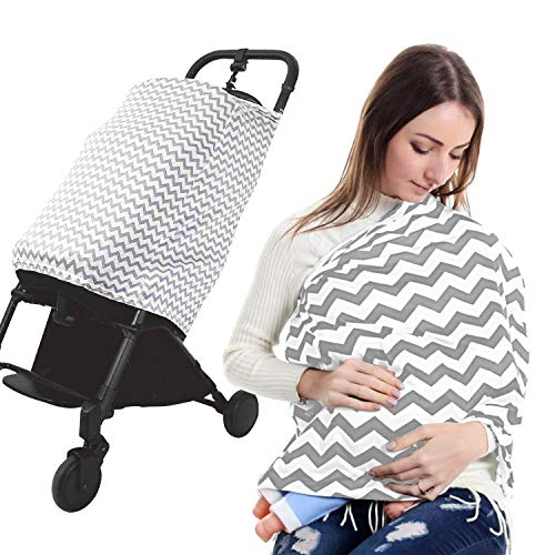 Muncaso Baby Nursing Cover for Breastfeeding - Multi Use Cover for Baby Car Seat Canopy, Shopping Cart Cover, Stroller Cover, 360° Full Privacy Breastfeeding Protection (Grey #1)