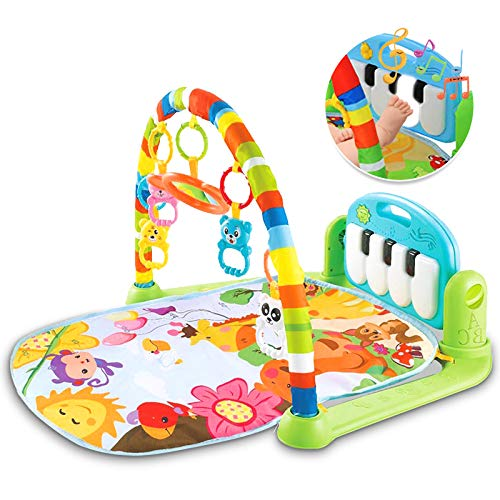 LATINKIS Baby Gym for Infant Baby Play Mat, Musical Activity Center Gym Playmat with Piano&Light,Tummy Time Padded Mat Baby Toys, for Newborn Toddler Baby Boys Girls 0-3,3-6-12 Months