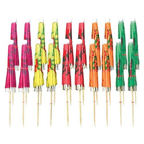 amscan 40117 Regenschirm-Dekopicker, 20er Pack, Bunte Schirmchen, 10cm