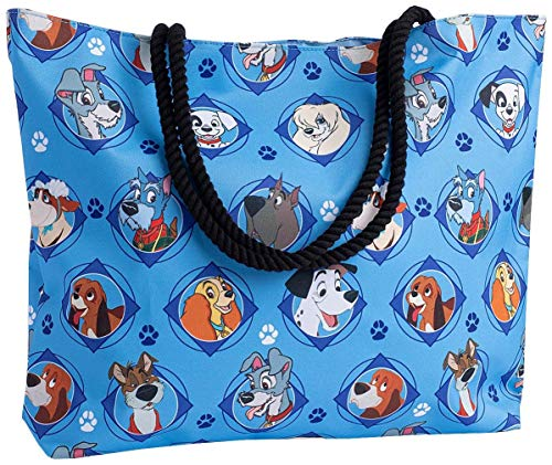 Disney Tote Travel Bag Dogs Print: 101 Dalmatians Lady Tramp Nana Copper Dodger