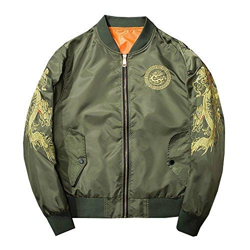 Lemosery Men's Fashion Chinese Dragon Embroidered Totem Bomber Jacket Windbreaker Moto Flight Jacket Green